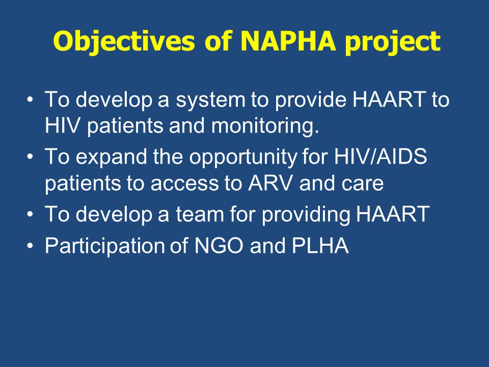 To develop a system to provide HAART to HIV patients and monitoring.