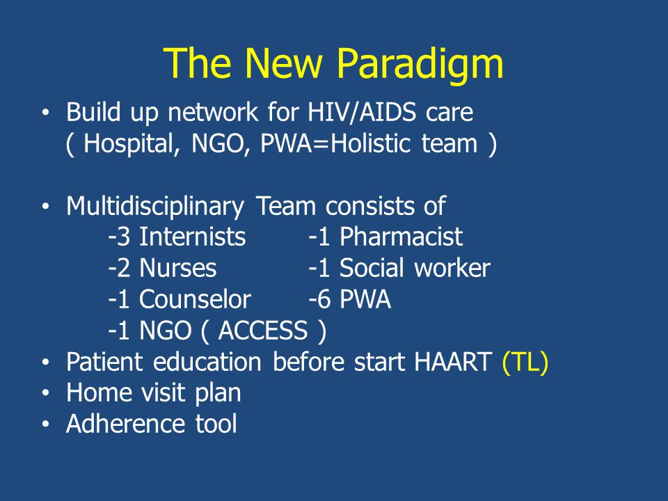 The New Paradigm Build up network for HIV/AIDS care ( Hospital, NGO, PWA=Holistic team ) Multidisciplinary Team consists of -3 Internists-1 Pharmacist -2 Nurses-1 Social worker -1 Counselor-6 PWA -1 NGO ( ACCESS ) Patient education before start HAART (TL) Home visit plan Adherence tool