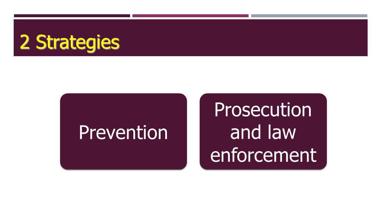 2 Strategies Prevention Prosecution and law enforcement