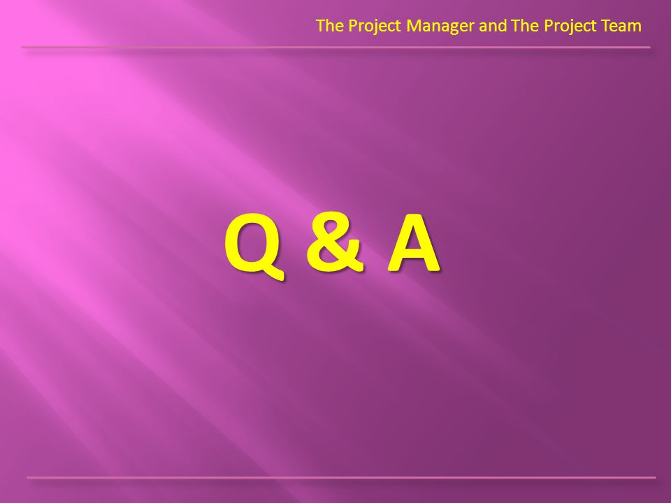 The Project Manager and The Project Team Q & A