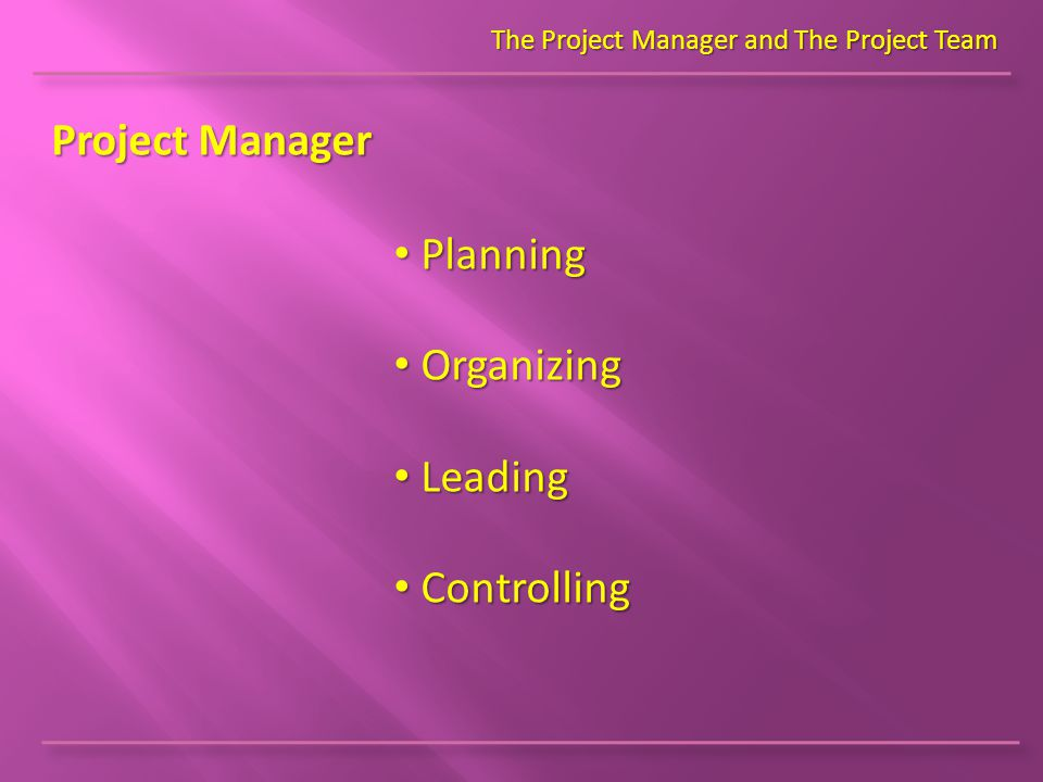Project Manager The Project Manager and The Project Team Planning Planning Organizing Organizing Leading Leading Controlling Controlling