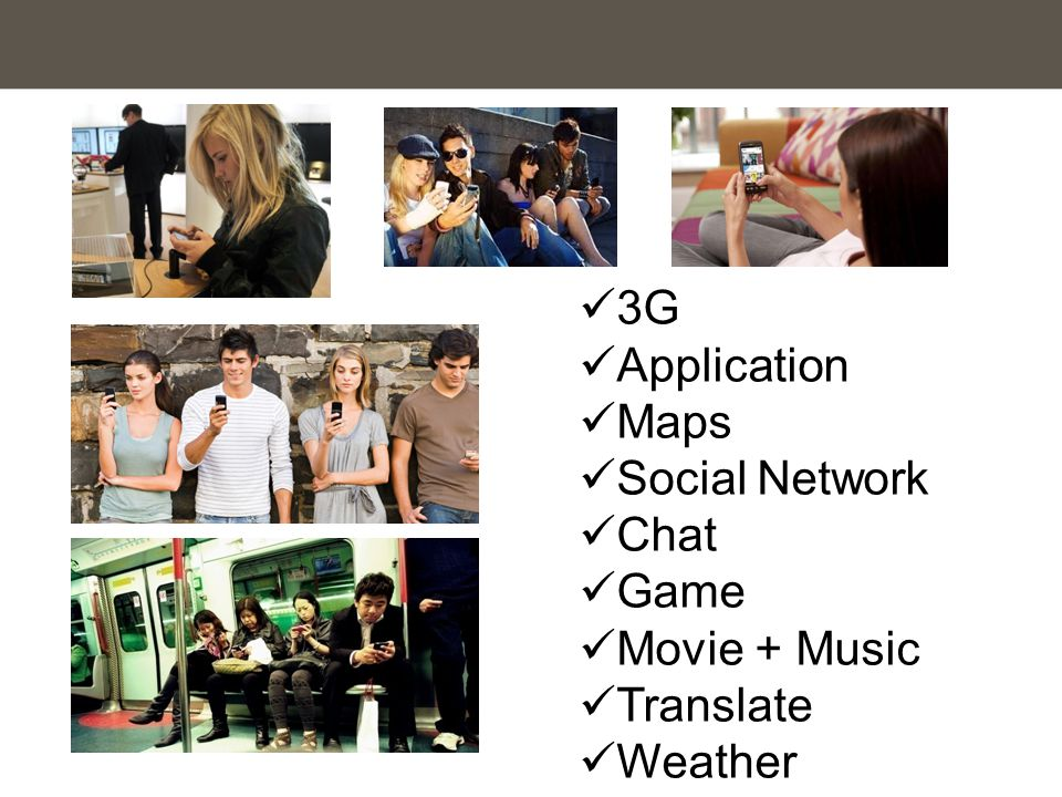 3G Application Maps Social Network Chat Game Movie + Music Translate Weather