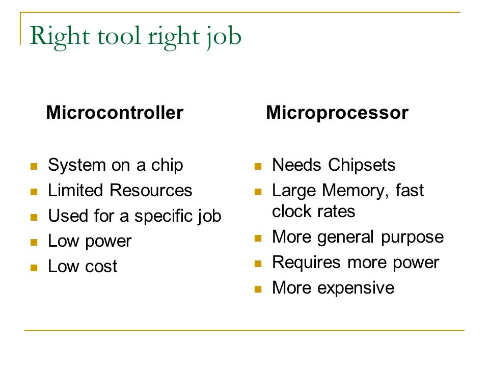 Right tool right job System on a chip Limited Resources Used for a specific job Low power Low cost Needs Chipsets Large Memory, fast clock rates More general purpose Requires more power More expensive MicrocontrollerMicroprocessor