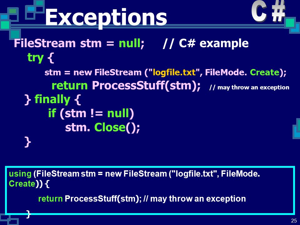 24 Exceptions Modern languages have a structured construct for exception handling which does not rely on the use of GOTO: try { xxx1 // Somewhere in here xxx2 // use: throw someValue; xxx3 } catch (someClass & someId) { // catch value of someClass actionForSomeClass } catch (someType & anotherId) { // catch value of someType actionForSomeType } catch (...) { // catch anything not already caught actionForAnythingElse }