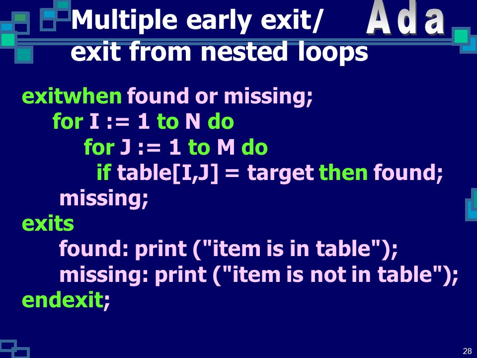 27 Multiple early exit/ exit from nested loops exitwhen EventA or EventB or EventC ; xxx exits EventA: actionA EventB: actionB EventC: actionC endexit;
