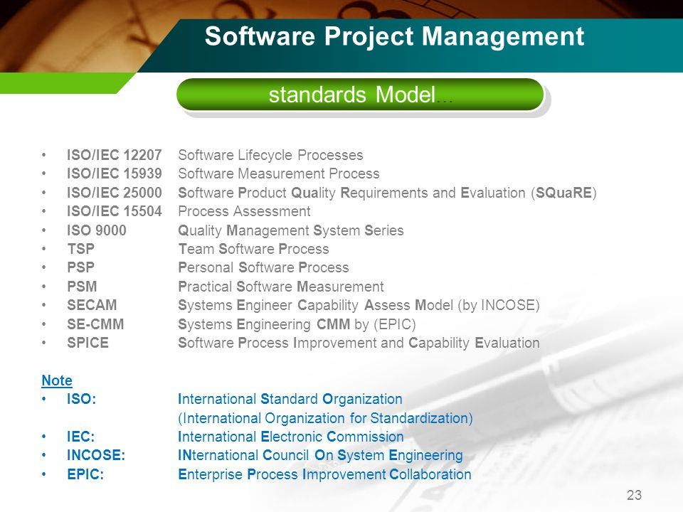 ISO/IEC 12207Software Lifecycle Processes ISO/IEC 15939Software Measurement Process ISO/IEC 25000Software Product Quality Requirements and Evaluation (SQuaRE) ISO/IEC 15504Process Assessment ISO 9000Quality Management System Series TSPTeam Software Process PSPPersonal Software Process PSMPractical Software Measurement SECAMSystems Engineer Capability Assess Model (by INCOSE) SE-CMMSystems Engineering CMM by (EPIC) SPICESoftware Process Improvement and Capability Evaluation Note ISO: International Standard Organization (International Organization for Standardization) IEC:International Electronic Commission INCOSE: INternational Council On System Engineering EPIC:Enterprise Process Improvement Collaboration 23 standards Model … Software Project Management
