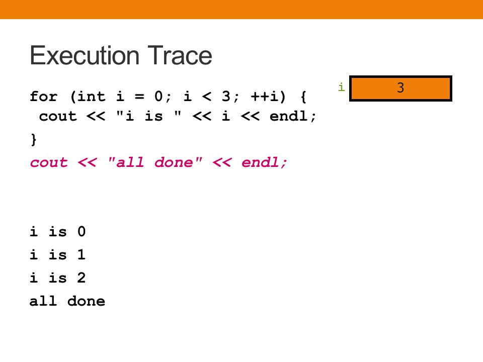 Execution Trace for (int i = 0; i < 3; ++i) { cout << i is << i << endl; } cout << all done << endl; i is 0 i is 1 i is 2 all done i 3