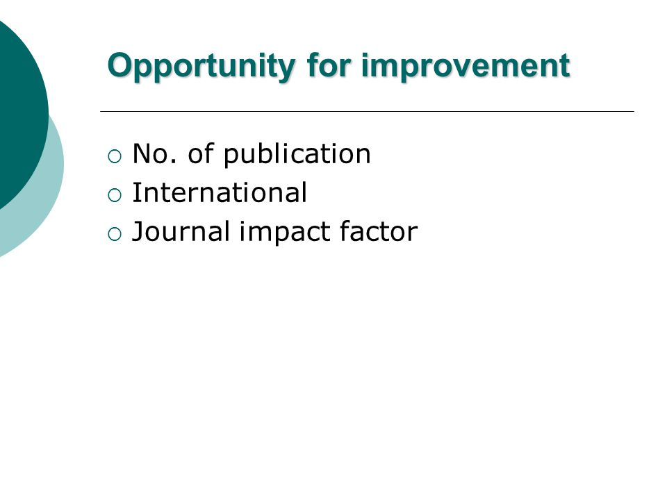 Opportunity for improvement  No. of publication  International  Journal impact factor