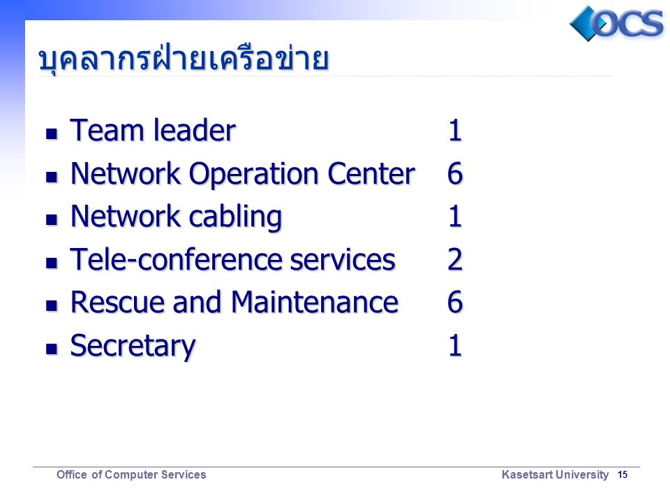 15 Office of Computer Services Kasetsart University บุคลากรฝ่ายเครือข่าย Team leader1 Team leader1 Network Operation Center 6 Network Operation Center 6 Network cabling 1 Network cabling 1 Tele-conference services 2 Tele-conference services 2 Rescue and Maintenance 6 Rescue and Maintenance 6 Secretary 1 Secretary 1