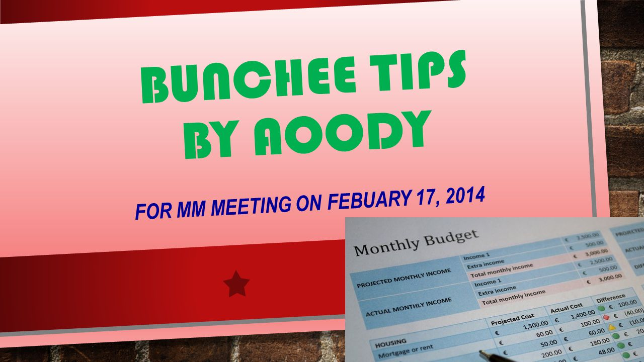 BUNCHEE TIPS BY AOODY FOR MM MEETING ON FEBUARY 17, 2014