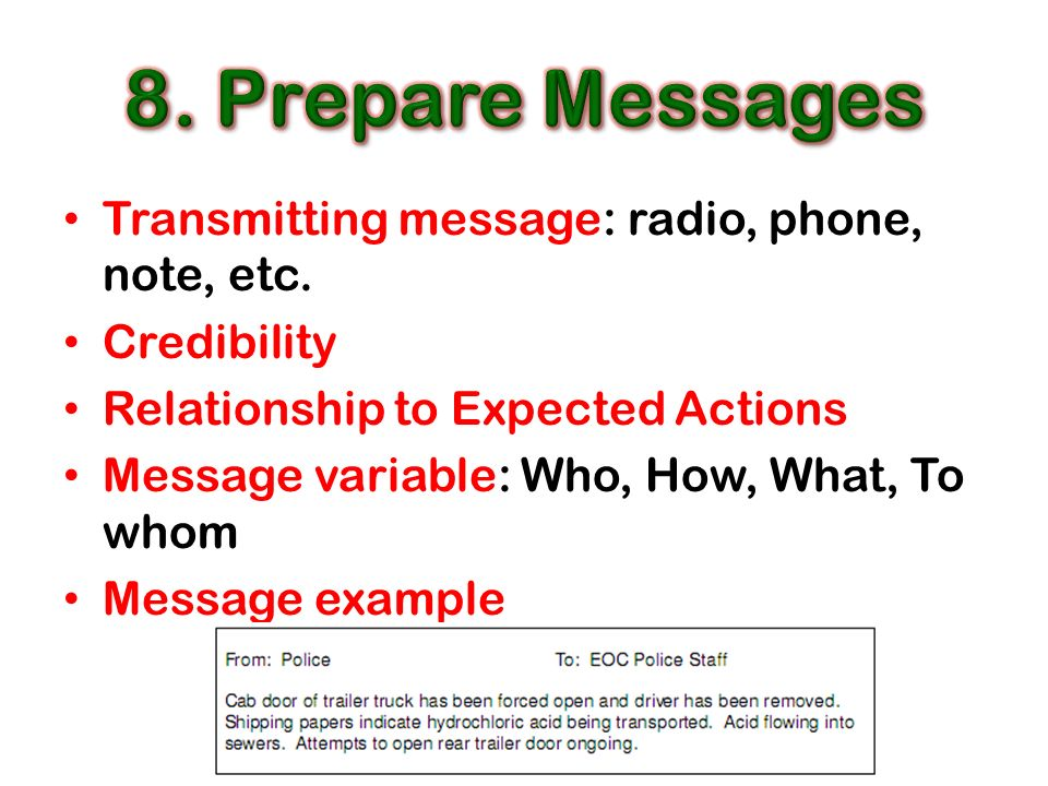 Transmitting message: radio, phone, note, etc.