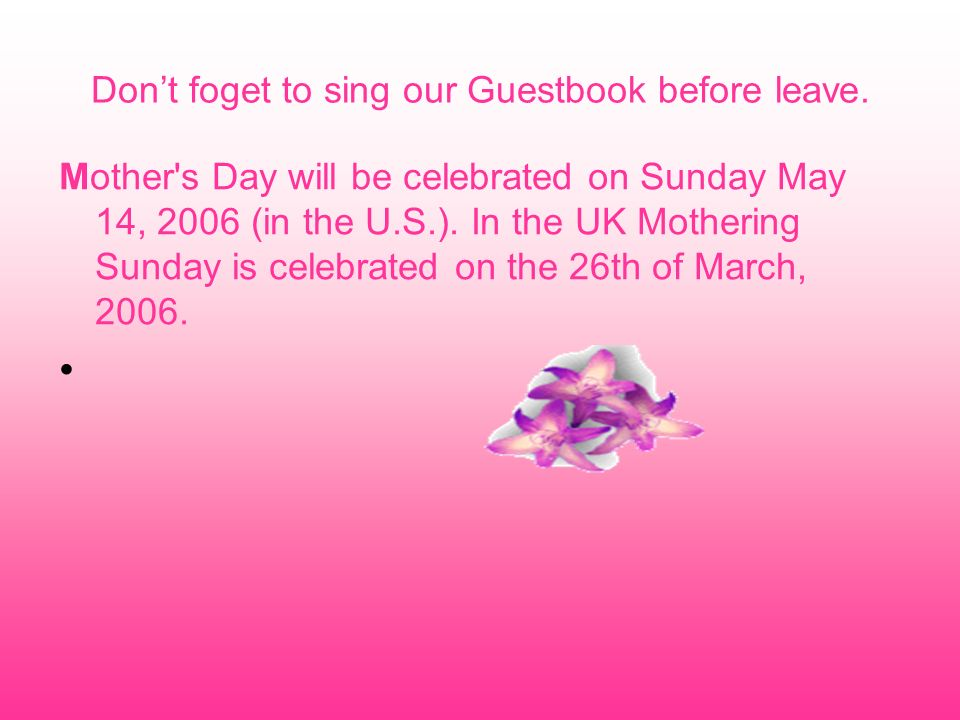 Don't foget to sing our Guestbook before leave.