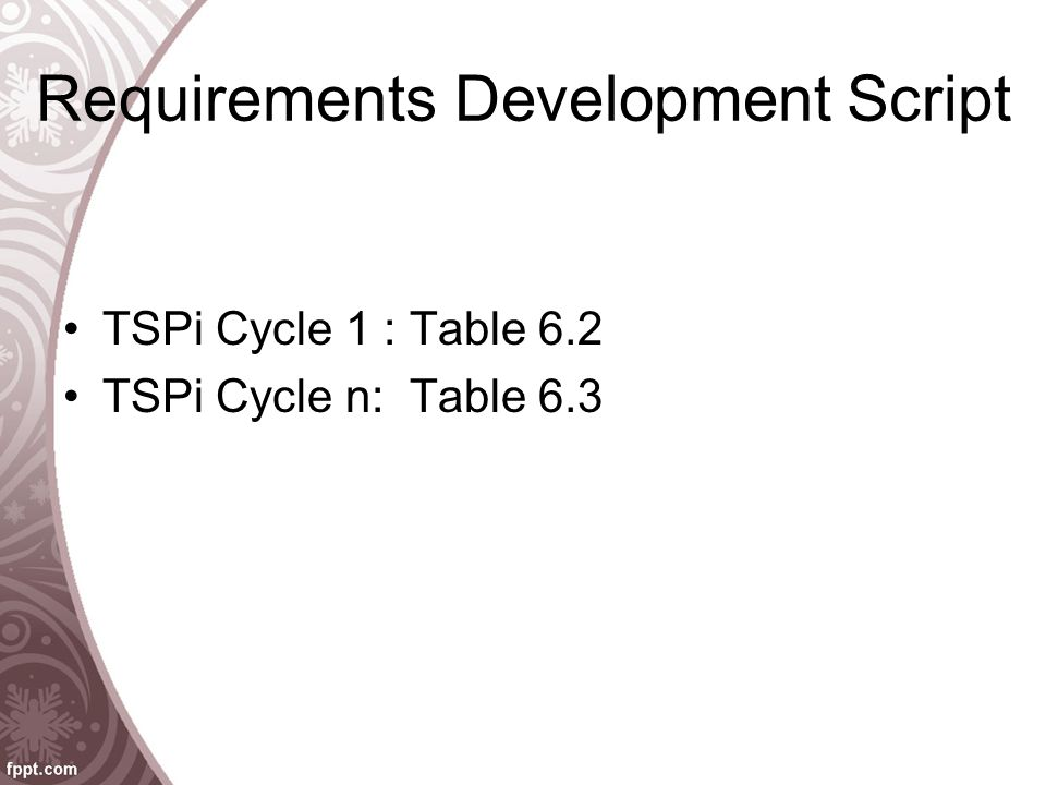 Requirements Development Script TSPi Cycle 1 : Table 6.2 TSPi Cycle n: Table 6.3