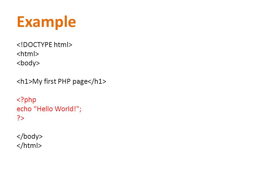 Example My first PHP page < php echo Hello World! ; >