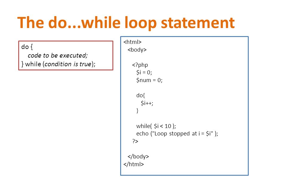 The do...while loop statement < php $i = 0; $num = 0; do{ $i++; } while( $i < 10 ); echo ( Loop stopped at i = $i ); > do { code to be executed; } while (condition is true);