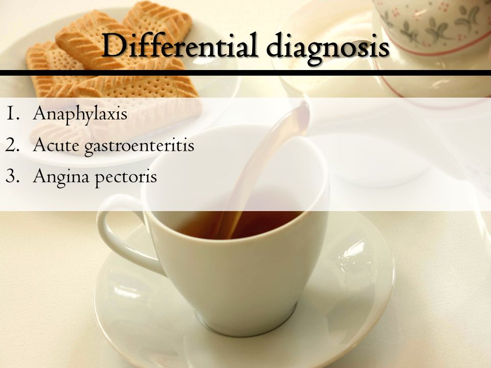 Differential diagnosis 1.Anaphylaxis 2.Acute gastroenteritis 3.Angina pectoris