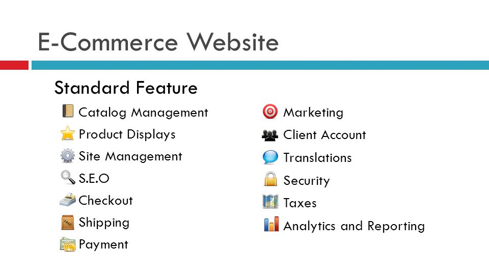 Standard Feature Catalog Management Product Displays Site Management S.E.O Checkout Shipping Payment Marketing Client Account Translations Security Taxes Analytics and Reporting E-Commerce Website