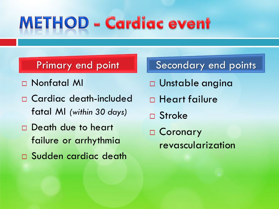  Nonfatal MI  Cardiac death-included fatal MI (within 30 days)  Death due to heart failure or arrhythmia  Sudden cardiac death  Unstable angina  Heart failure  Stroke  Coronary revascularization Primary end point Secondary end points