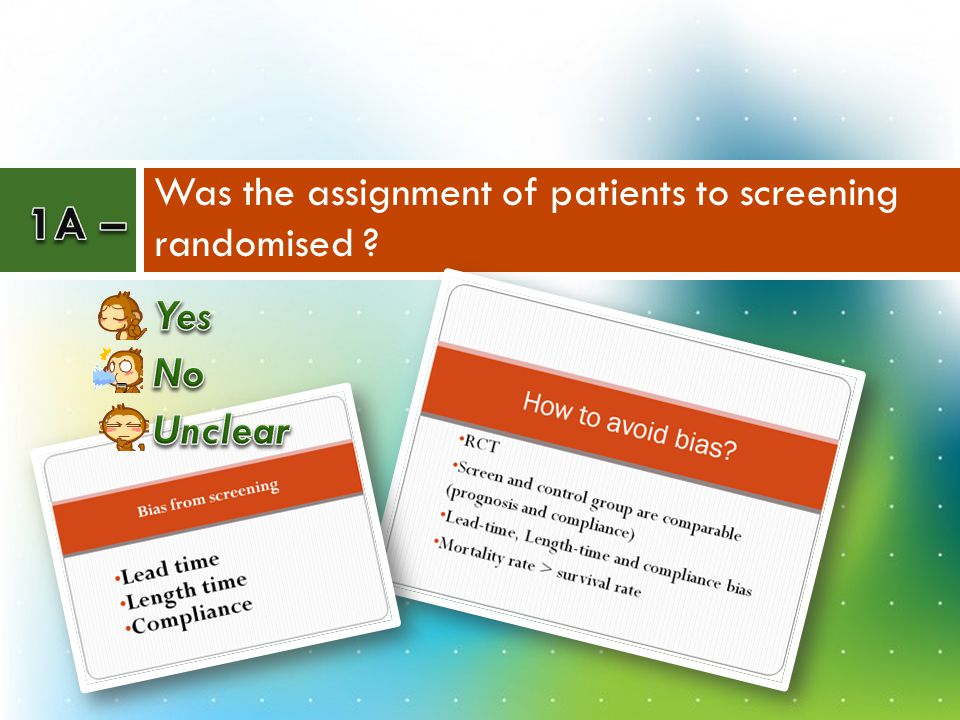 Was the assignment of patients to screening randomised