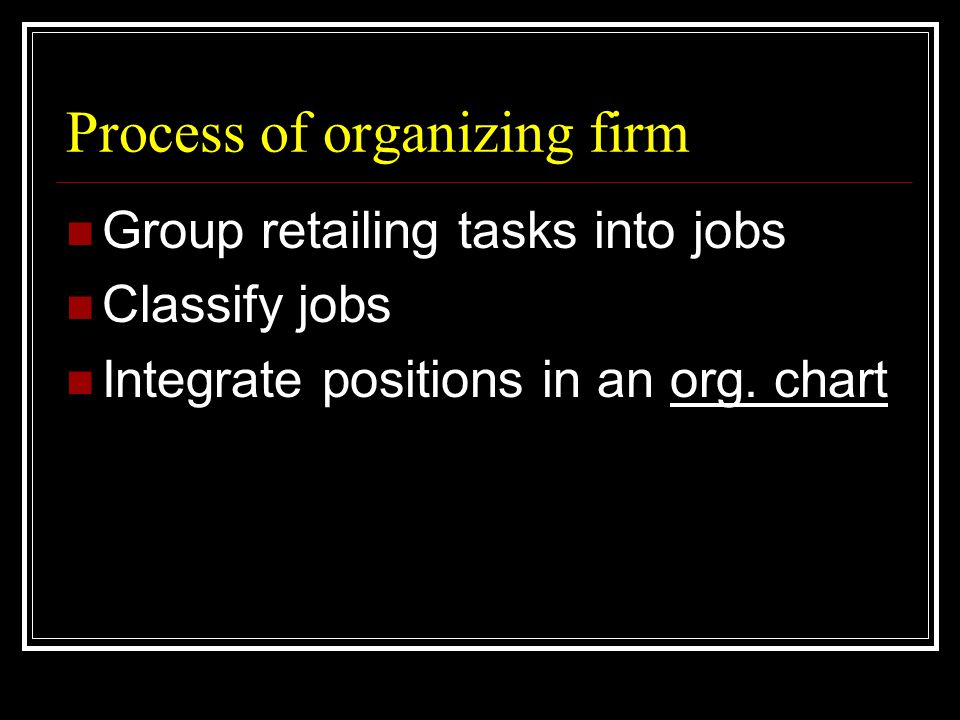 Process of organizing firm  Group retailing tasks into jobs  Classify jobs  Integrate positions in an org.