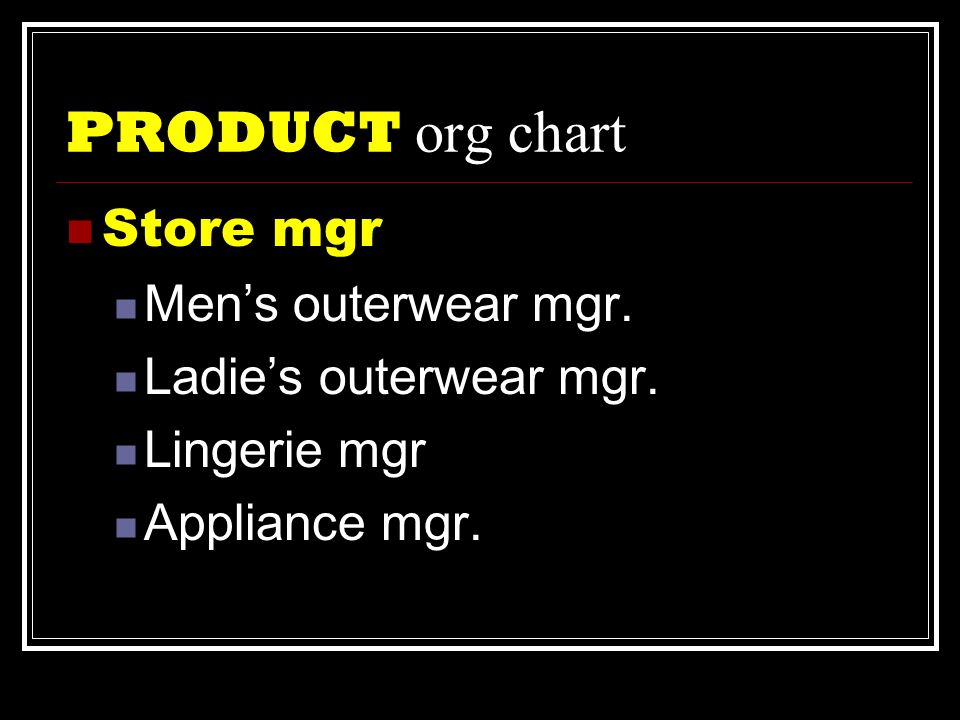PRODUCT org chart  Store mgr  Men's outerwear mgr.