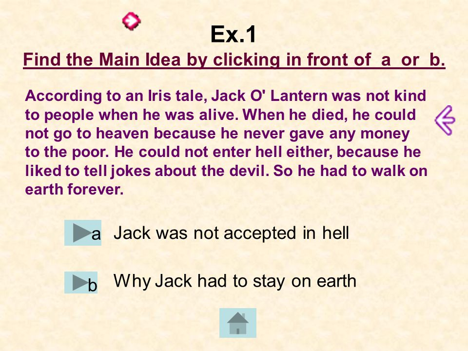 Ex.1 Find the Main Idea by clicking in front of a or b.