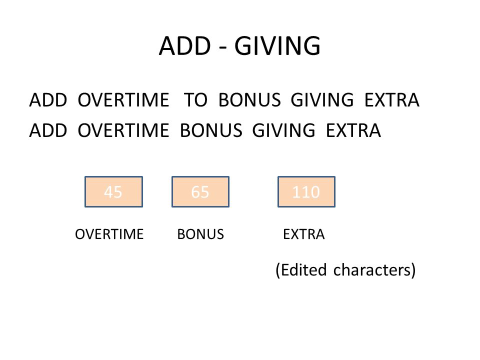 ADD - GIVING ADD OVERTIME TO BONUS GIVING EXTRA ADD OVERTIME BONUS GIVING EXTRA 4565110 EXTRABONUSOVERTIME (Edited characters)