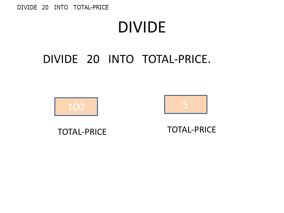 DIVIDE DIVIDE 20 INTO TOTAL-PRICE. 100 TOTAL-PRICE 5 DIVIDE 20 INTO TOTAL-PRICE