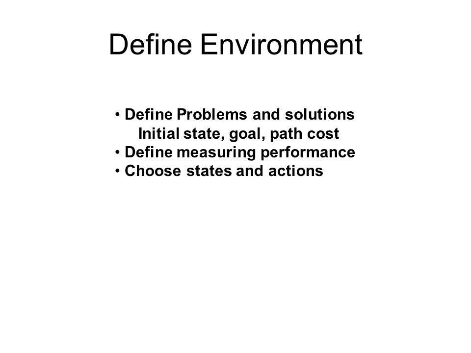 Define Environment • Define Problems and solutions Initial state, goal, path cost • Define measuring performance • Choose states and actions