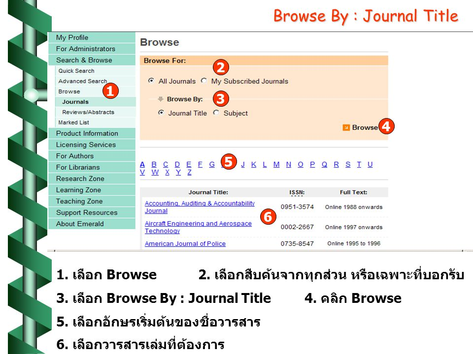 Browse By : Journal Title เลือก Browse 3.