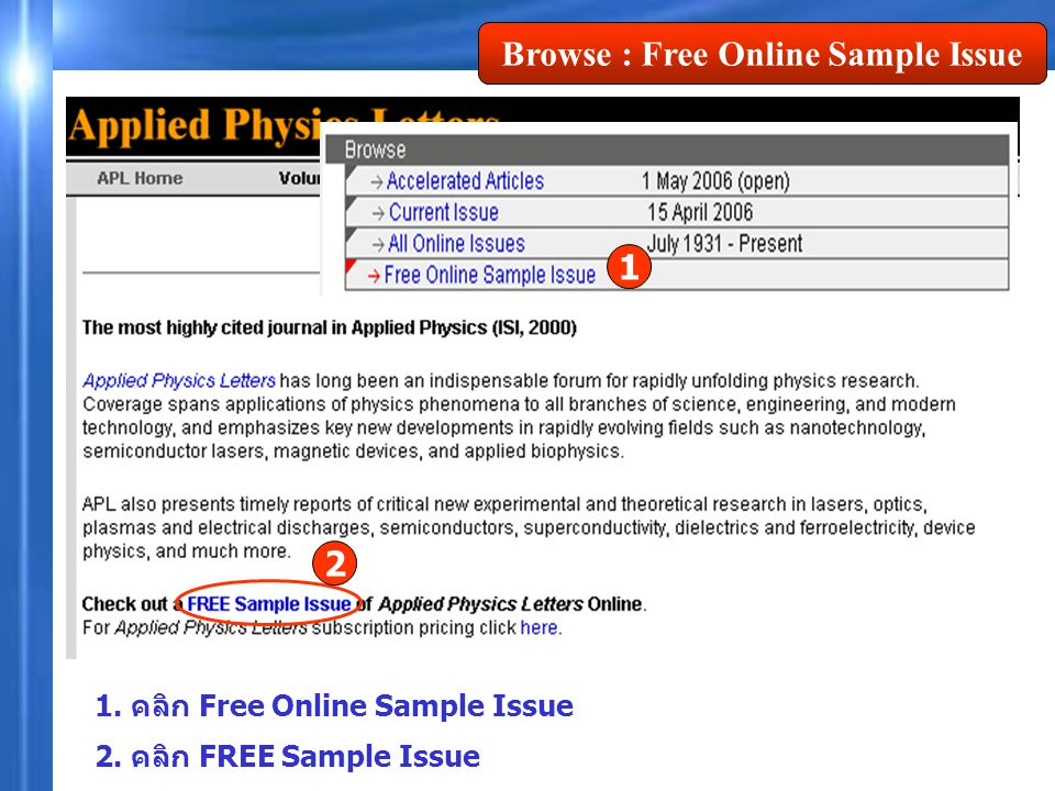 Browse : Free Online Sample Issue 2 1. คลิก Free Online Sample Issue 2. คลิก FREE Sample Issue 1