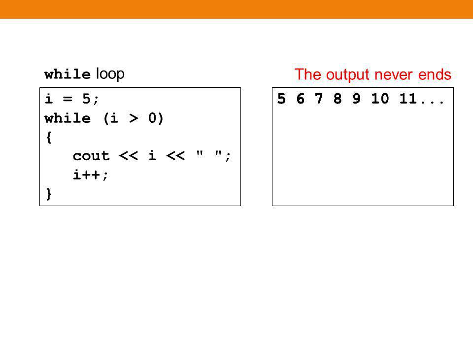 while loop to hand-trace What is the output i = 5; while (i > 0) { cout << i << ; i++; }
