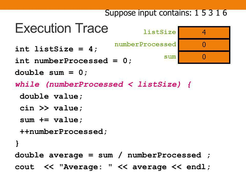 Execution Trace int listSize = 4; int numberProcessed = 0; double sum = 0; while (numberProcessed < listSize) { double value; cin >> value; sum += value; ++numberProcessed; } double average = sum / numberProcessed ; cout << Average: << average << endl; numberProcessed sum Suppose input contains: 1 5 3 1 6 4 listSize 0 0
