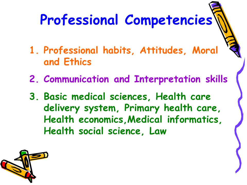 Professional Competencies 1.Professional habits, Attitudes, Moral and Ethics 2.Communication and Interpretation skills 3.Basic medical sciences, Health care delivery system, Primary health care, Health economics,Medical informatics, Health social science, Law