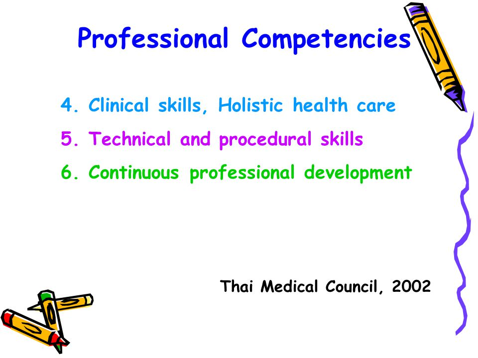 Professional Competencies 4.Clinical skills, Holistic health care 5.Technical and procedural skills 6.Continuous professional development Thai Medical Council, 2002