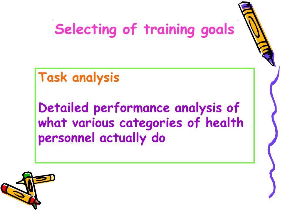 Selecting of training goals Task analysis Detailed performance analysis of what various categories of health personnel actually do