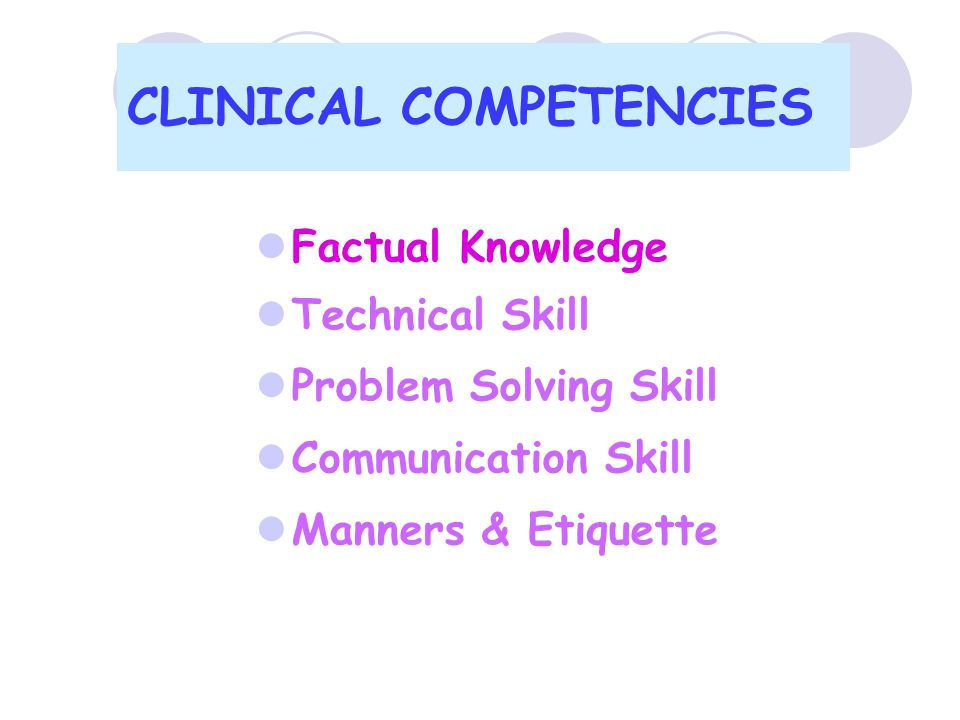 CLINICAL COMPETENCIES  Factual Knowledge  Technical Skill  Problem Solving Skill  Communication Skill  Manners & Etiquette
