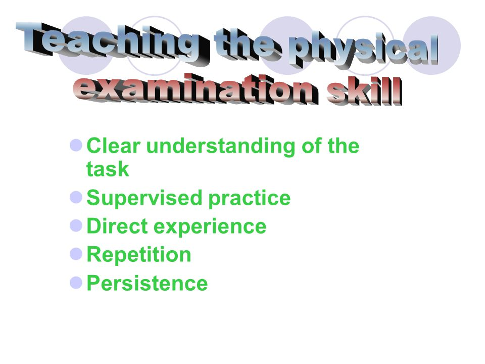  Clear understanding of the task  Supervised practice  Direct experience  Repetition  Persistence