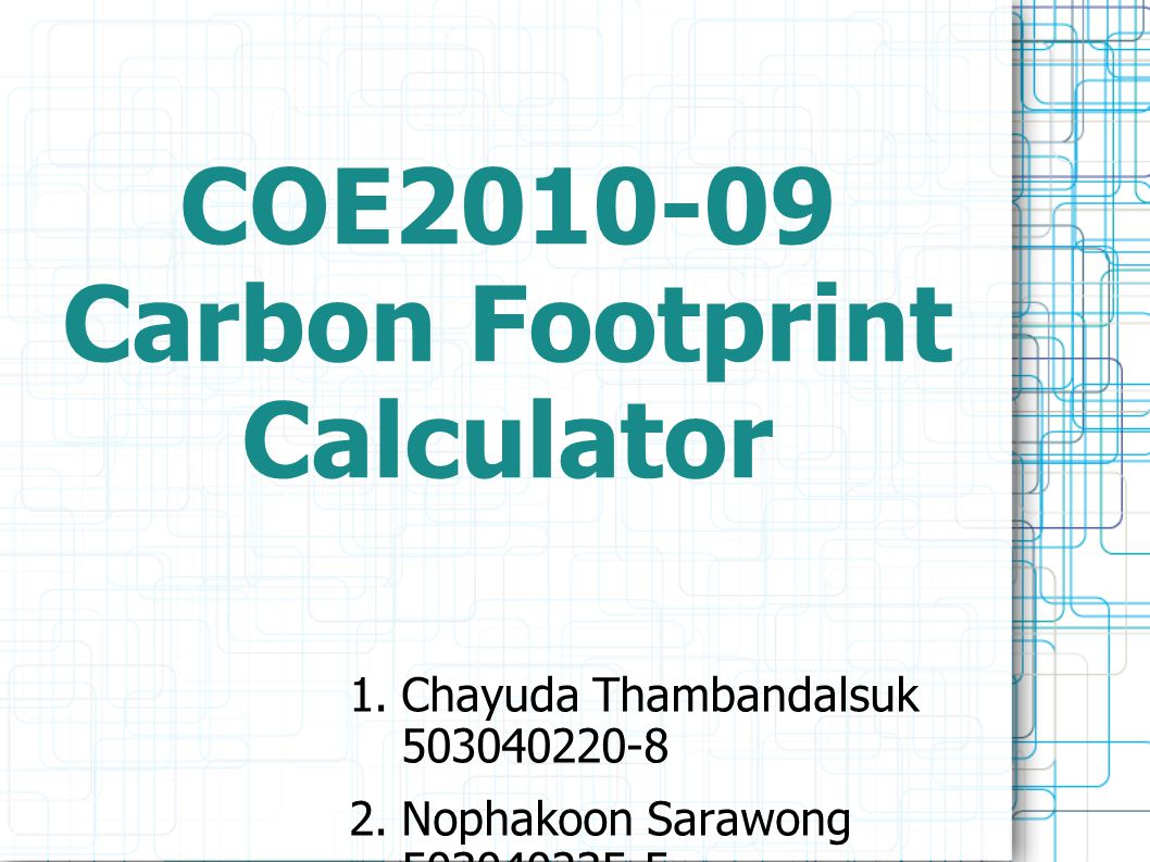 COE Carbon Footprint Calculator  Chayuda Thambandalsuk