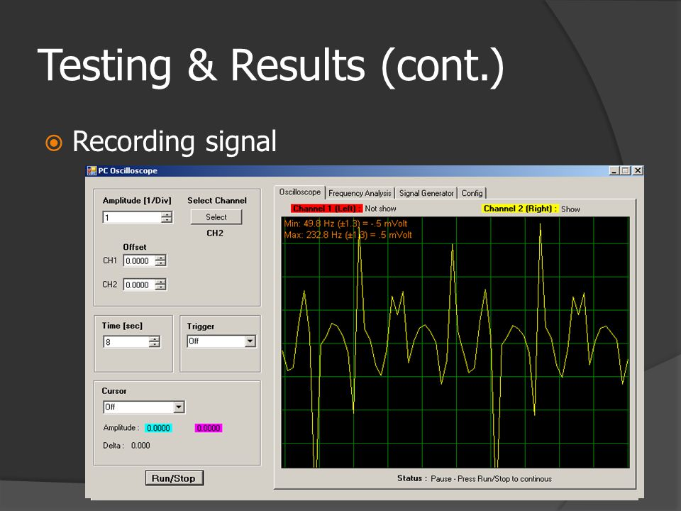 Testing & Results (cont.)  Recording signal