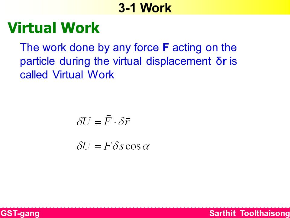 3-1 Work Virtual Work The work done by any force F acting on the particle during the virtual displacement δr is called Virtual Work GST-gang Sarthit Toolthaisong