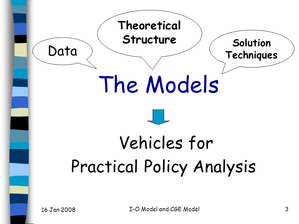 16 Jan 2008 I-O Model and CGE Model3 The Models Vehicles for Practical Policy Analysis Data Solution Techniques Theoretical Structure