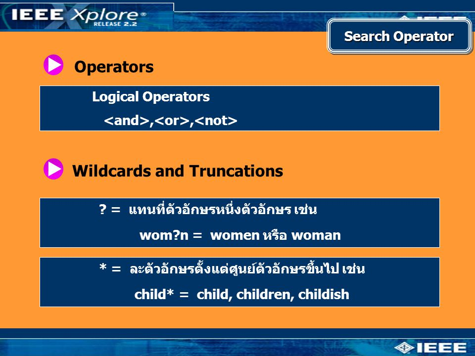 Operators Logical Operators,, Wildcards and Truncations .