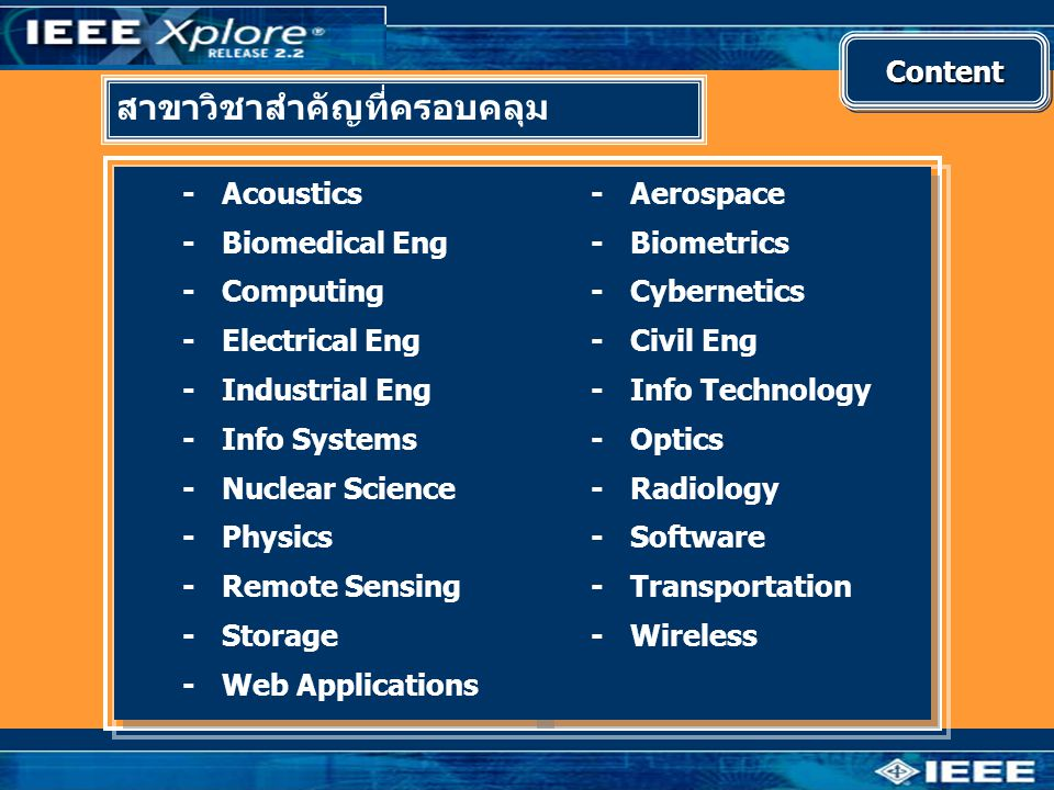 ContentContent สาขาวิชาสำคัญที่ครอบคลุม -Acoustics -Biomedical Eng -Computing -Electrical Eng -Industrial Eng -Info Systems -Nuclear Science -Physics -Remote Sensing -Storage -Web Applications -Acoustics -Biomedical Eng -Computing -Electrical Eng -Industrial Eng -Info Systems -Nuclear Science -Physics -Remote Sensing -Storage -Web Applications -Aerospace -Biometrics -Cybernetics -Civil Eng -Info Technology -Optics -Radiology -Software -Transportation -Wireless -Aerospace -Biometrics -Cybernetics -Civil Eng -Info Technology -Optics -Radiology -Software -Transportation -Wireless
