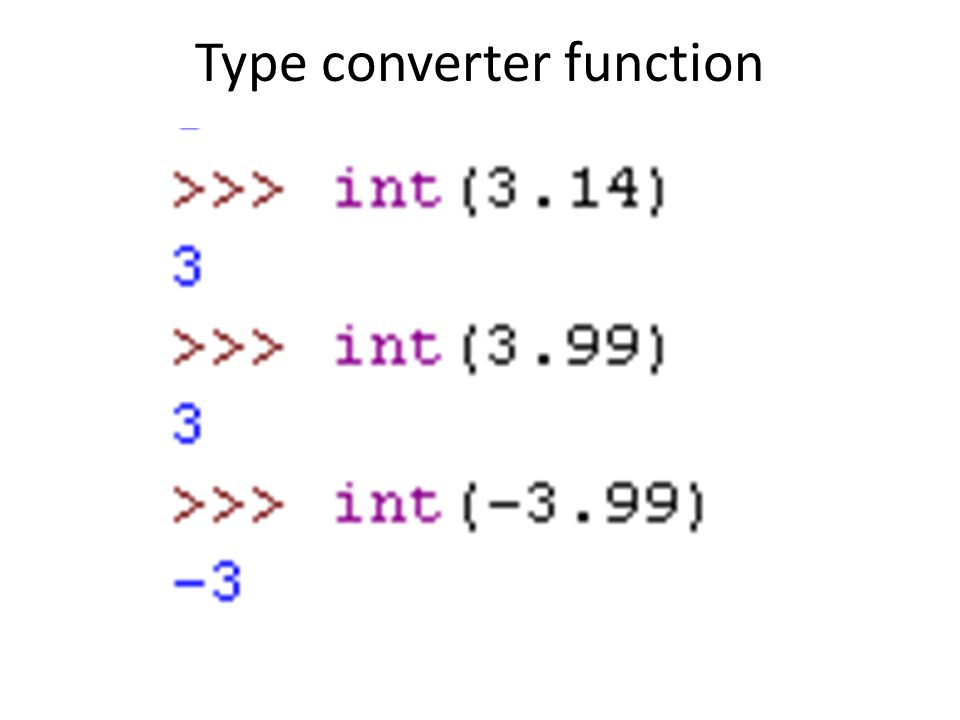 Type converter function