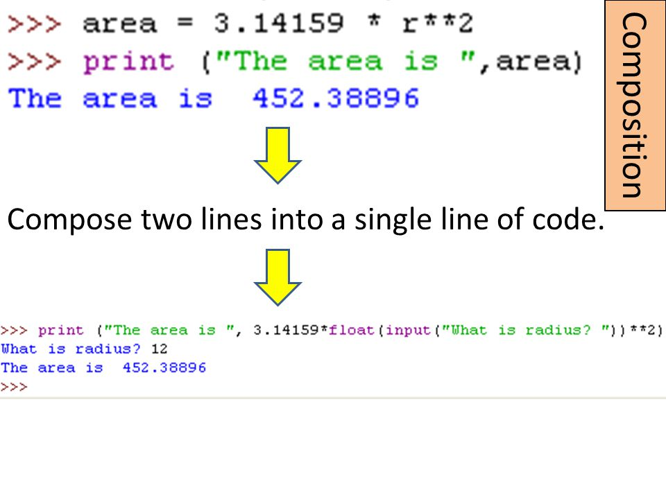 Composition Compose two lines into a single line of code.