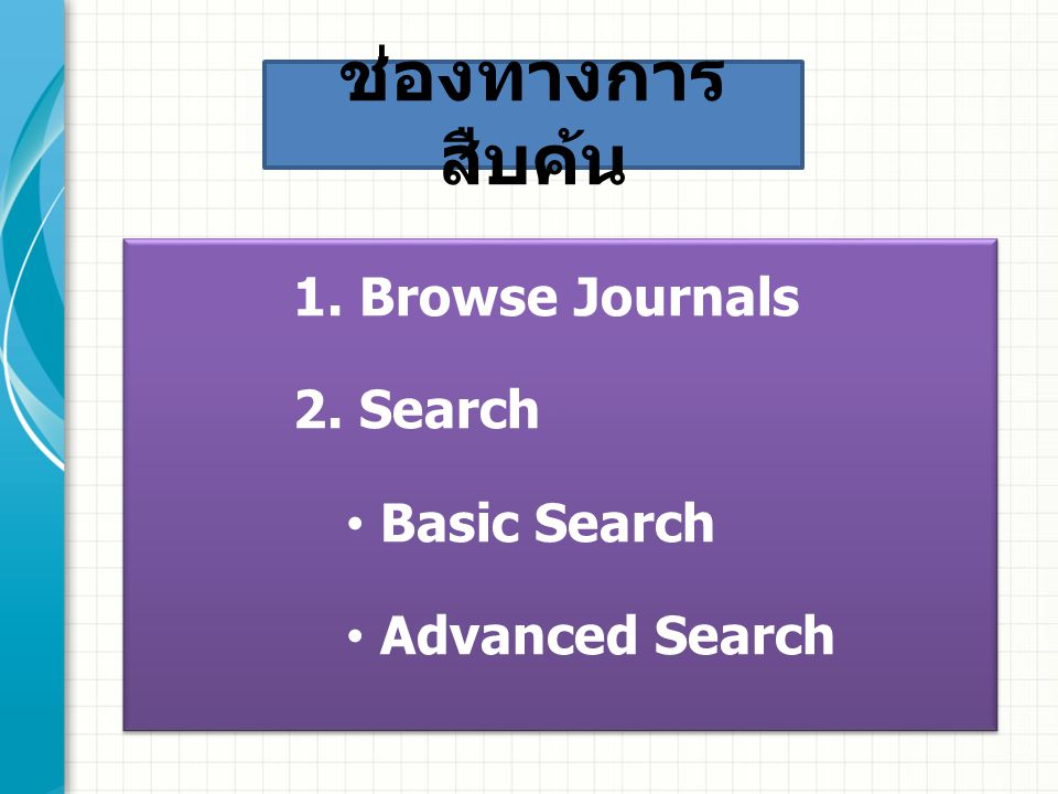 1. Browse Journals 2. Search Basic Search Advanced Search 1.