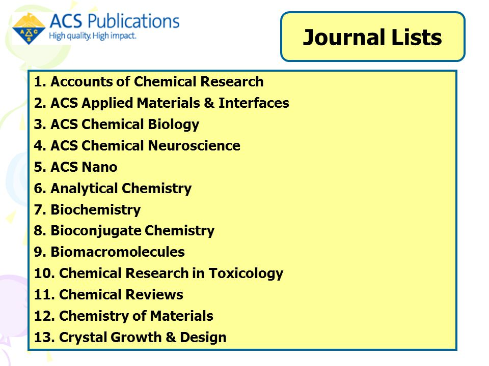1. Accounts of Chemical Research 2. ACS Applied Materials & Interfaces 3.
