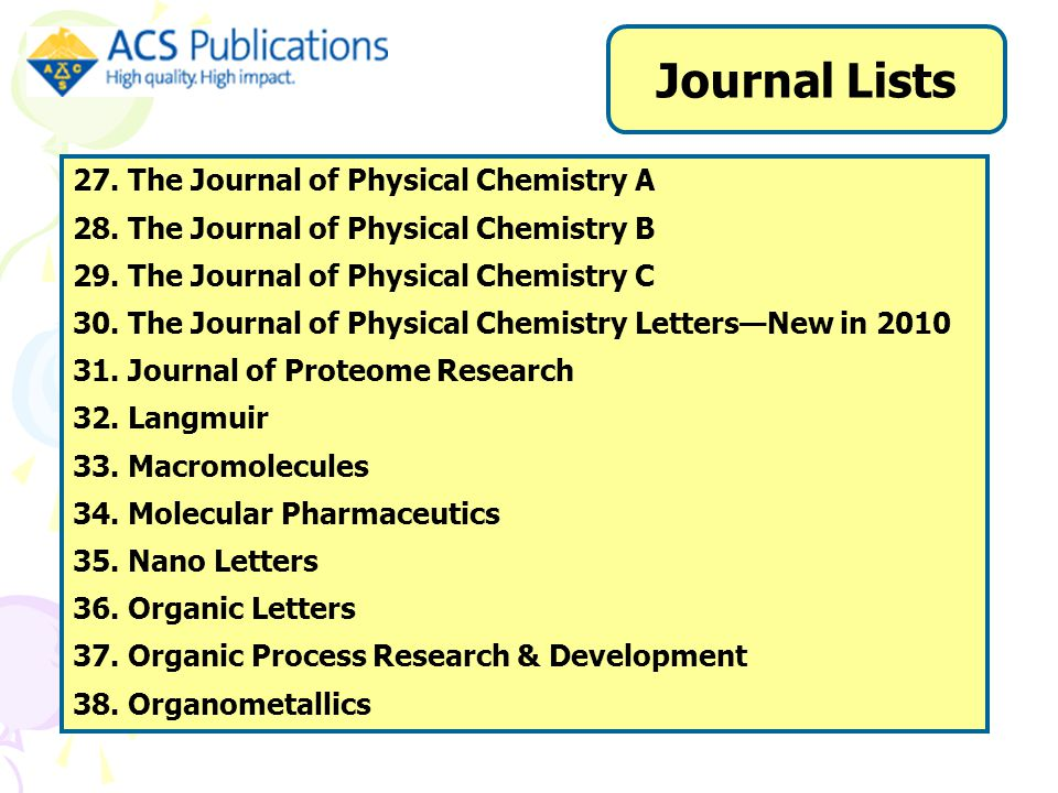 27. The Journal of Physical Chemistry A 28. The Journal of Physical Chemistry B 29.