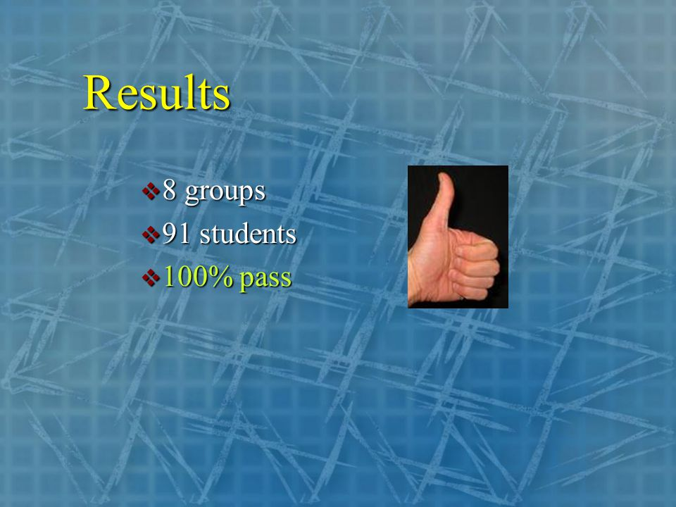 Results  8 groups  91 students  100% pass